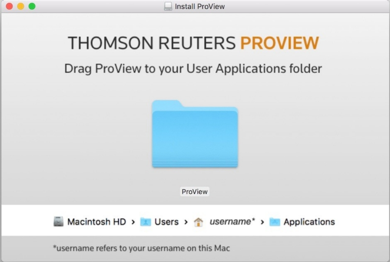 Drag ProView folder to your Applications folder